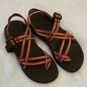 Brown and pink chacos